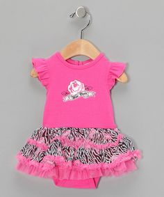 Take a look at this Pink Wild Zebra Tutu Bodysuit by Vitamins Baby on #zulily today!