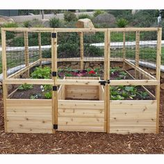 Features:  -Pre-assembled western red cedar Raised garden bed panels with wire mesh.  -Panels create growing beds with fencing which is backed with wire mesh.  -Door with barrel bolt allows access to                                                                                                                                                      More