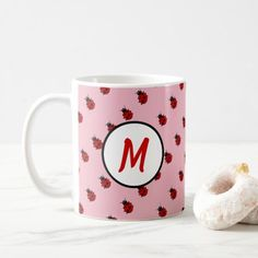 Shop Cute Ladybug Pattern Monogram in Pink and Red Coffee Mug created by ThePatternizt. Coffee Cups, Tea Cups, Coffee Mugs Vintage, Mother's Day Mugs, Coffee Heart, Vintage Roses, Cool Patterns, Ladybug, Photo Mugs
