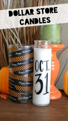 Dollar Store Candles - embellish with vinyl and washi for #Halloween #candles #DIY via #PoofyCheeks blogger @Dinh Dinh Ly-mehl ! Awesome!