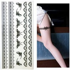 Set of 2 Waterproof Temporary Tattoo Stickers Sexy Black Lace Butterfly Designs Body Thigh Art >>> See this great product. (This is an affiliate link and I receive a commission for the sales) #Makeup