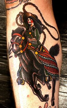 Roping Cowgirl tattoo