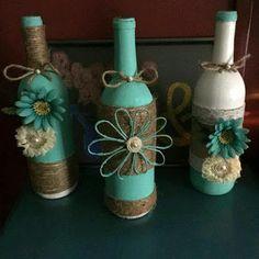 más y más manualidades: 15 ideas para decorar botellas usando yute e hilo rústico.                                                                                                                                                                                 Más