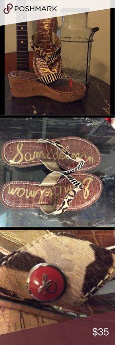 "Cork wedge thong Sam Edelman Romy cork wedge. Leather upper. Zebra and leopard prints, great match to black or brown.  Barely worn. 2 1/2"" heel. Sam Edelman Shoes Wedges"