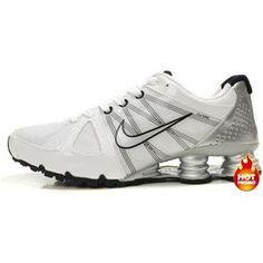 Mens Nike Shox Agent White Silver Black Mens Nike Shox 25b860744