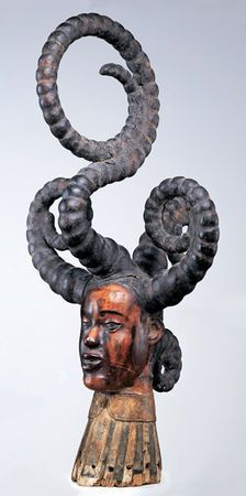 Head Crest. Nigeria, Cross River region; Ejagham peoples, 19th–20th century. Wood, antelope skin, pigment; H. 28 1/8 in. (71.5 cm) Provenance: [Lin and Emile Deletaille, Brussels, 2000]; [Pierre Loos, Brussels, before 2002]; Barbier-Mueller collection, since 2002