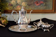 International Silver Plate Tea Service - 4 Piece Silver Tea Set - Silver Teapot - Silver Cream & Sugar with Lid - Round Silver Serving Tray by PearlsParlor on Etsy https://www.etsy.com/listing/256391487/international-silver-plate-tea-service-4
