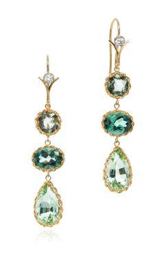 Handmade 18K Gold Green Sapphire Tourmaline and Diamond Earrings by Dean Harris Now Available on Moda Operandi