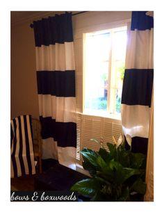 DIY black stripe curtains via Bows and Boxwoods