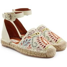 Valentino Embroidered Leather Espadrilles (520 CAD) ❤ liked on Polyvore featuring shoes, sandals, flats, espadrilles, white, chunky sandals, white sandals, strappy sandals, white leather flats and leather strap sandals
