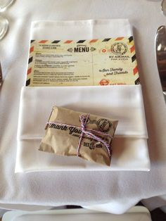 Favor packaged for travel theme. Printed on Kraft paper