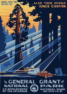 Vintage Poster Poster for General Grant National Park from the National Park Service circa 1940 - Lovely WPA and WPA-inspired posters of National Park sites from Ranger Doug. Sequoia National Park, National Parks Usa, National Forest, Vintage National Park Posters, Old Poster, Poster Poster, Poster Prints, Wpa Posters, Retro Posters