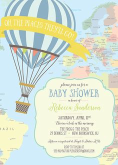 Hot Air Balloon Baby Shower Invitation Yellow by jenrikdesigns