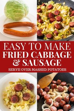 Easy Fried Cabbage with Sausage skillet meal, ready in 30 minutes for dinner.  Kielbasa sausage is cooked with onions and cabbage to make a simple delicious recipe! Carb Free Recipes, Easy Meat Recipes, Easy Delicious Recipes, Best Dinner Recipes, Ham And Cabbage Soup, Fried Cabbage With Sausage, Fried Cabbage Recipes, Slow Cooker Kielbasa, Slow Cooker Ribs