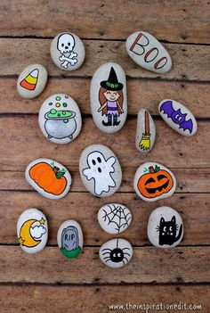 Halloween Craft Ideas Mummy Painted Rocks · The Inspiration Edit Halloween craft Ideas are fun ot make. Check out this easy halloween mummy painted rocks. it's an easy idea for any age and a fun preschool craft Halloween Rocks, Halloween Tags, Halloween Crafts For Kids, Fun Crafts For Kids, Creative Crafts, Crafts To Sell, Halloween Ideas, Halloween Witches, Halloween Halloween