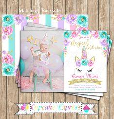 Unicorn Invitation, unicorn party, Magical unicorn invitation, unicorn party ideas, unicorn photo invitation, girls first birthday, #unicorn #unicornbirthday #unicorninvitation #unicornparty