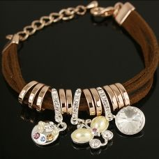 Leather bracelet with butterfly charm  $40.00