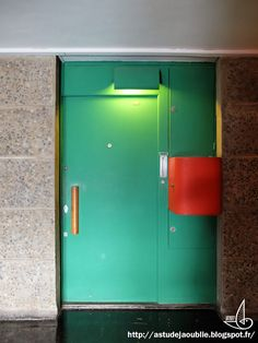 Front door. Corbusierhaus/ Unité d'Habitation. Le Corbusier. Berlin, Germany. 1958