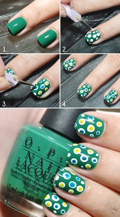 Green Nails with Dots