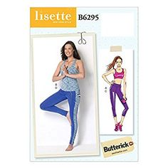 Butterick Pattern 6295 A5 Sizes 6 - 14 Misses Bra Top/Top and Leggings Sewing Pattern, Multi-Colour