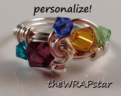 Gift Ideas for Mom Family Birthstone Ring Mothers by theWRAPstar, $15.95