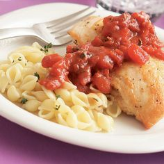 Sear-Roasted Chicken with Tomato & Red Wine Sauce - FineCooking