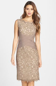Free shipping and returns on Tadashi Shoji Crisscross Waist Lace Sheath Dress (Regular & Petite) at Nordstrom.com. Pleated bands intersect at the waist of a lace cocktail dress to accentuate its classic hourglass silhouette. For a delicate touch of femininity, eyelash fringe brushes the scalloped neck and hem.