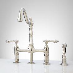 Bellevue Bridge Kitchen Faucet with Brass Sprayer - Lever Handles - Kitchen Faucets - Kitchen ($189)