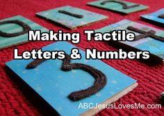 AWESOME idea for PreK!!  Several ideas to make your own #tactile #letters and #numbers using materials such as #sandpaper, #sand, #pipecleaners, chip board, glitter, or others.  Directions and images included for each idea. (MOEC)
