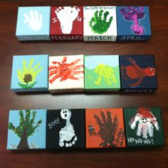 Child hand/foot prints on canvas 4x4 for monthly display. Snow, heart, shamrock, butterfly, flower, crab, sun, fish, tree, ghost, turkey and Santa.