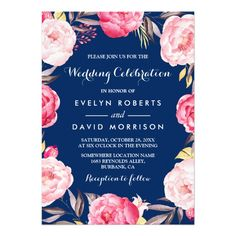 Shop Modern Sweet 16 Birthday Navy Blue Floral Wreath Invitation created by CardHunter. Personalize it with photos & text or purchase as is! Sweet Sixteen Invitations, Pink Wedding Invitations, Graduation Party Invitations, Bridal Shower Invitations, Graduation Ideas, Brunch Invitations, Personalized Invitations, Custom Invitations, Wedding Stationery