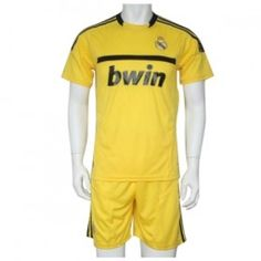 Wholesale 11/12 Real Madrid Goalkeeper Yellow Soccer Jersey with Short Kit$21.90
