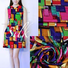 Colourful silk dress idea. Stretch silk fabric in graphic prints by fabricAsians