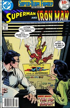 """Superman and Iron Man in """"The No-Show!"""". A mock cover."""