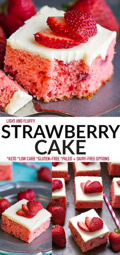 This healthy Strawberry Cake is light, fluffy and completely made from scratch with NO cake mix or jello mix. It's made with almond flour, coconut flour and full of fresh and freeze-dried strawberries and topped with an easy buttercream cream frosting. Gluten-free, keto, low carb and easily paleo and dairy-free. Perfect for spring, summer birthday parties, potlucks, baby showers, Memorial Day and Fourth of July picnics and barbecues.