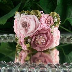 Romantic Pink Rose Bracelet: