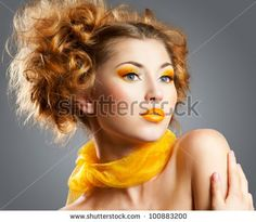 Google Image Result for http://image.shutterstock.com/display_pic_with_logo/633400/100883200/stock-photo-beautiful-woman-with-bright-creative-yellow-makeup-and-curly-hairstyle-100883200.jpg