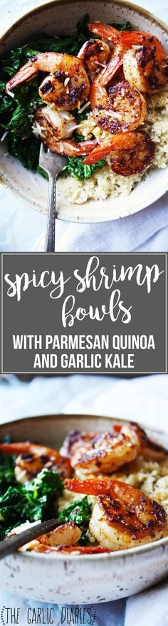 Spicy Shrimp Bowls with Parmesan Quinoa and Garlic Kale [21 Day Fix friendly] - These healthy bowls are quick and easy to make, and they pack SO much fantastic flavor! It's a winner all around! #21dayfix #glutenfree TheGarlicDiaries.com: