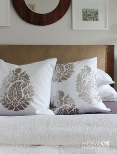 Stencil Designs for High End Custom Style - Bedroom Makeover with DIY Painted and Stenciled Pillows and Curtains - Indian Damask Paisley Stencils - Royal Design Studio Paisley Stencil, Motif Paisley, Damask Wall Stencils, Damask Decor, Stencil Walls, Stencil Decor, Stenciling, Paisley Pattern, Bar Design