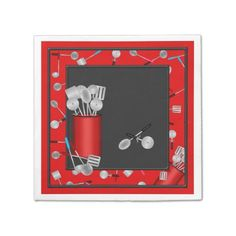 Kitchen Utensils,Red 2-PAPER PARTY NAPKINS #zazzle #utensils #papernapkins #red #black