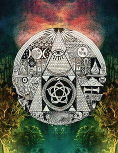 All Seeing Eye Third Eye Symbolism Sacred Geometry ☮ All Seeing EYE ~ psychedelic, hippie art, revolution OBEY style, Masonic, street graffiti, illustration and design. ☮