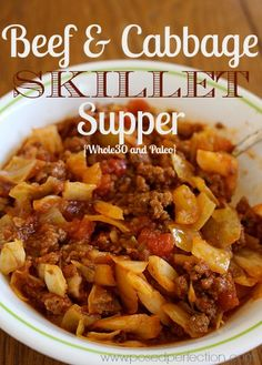 """This Beef & Cabbage Skillet Supper is a """"one-pot wonder"""" of a meal that is both Paleo and Whole30 compliant... not to mention delicious enough for the whole family! (Ground Recipes)"""