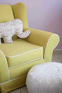 rikshaw design: lilac+livi=love; yellow glider with white piping, white leather pouf