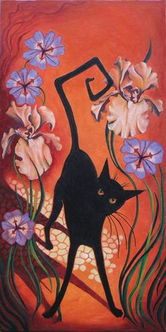 black cat against coral wall with flowers