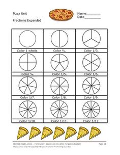 Fractions: Here is a 23 page Pizza Fractions Unit. It focuses on the Common Core - Develop understanding of fractions as numbers. Pizza Fractions, 3rd Grade Fractions, Fractions Worksheets, Third Grade Math, Printable Worksheets, Fun Math, Math Activities, Maths, Teaching Tools