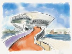 Sketch: Niteroi MOCA by Oscar Niemeyer