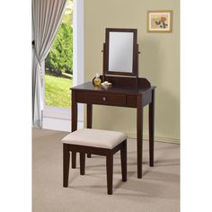 This two-piece vanity set is a great addition to your bedroom or bathroom to create personal space. This vanity set features an espresso finish, table with one drawer, single mirror that swivels and coordinating stool.