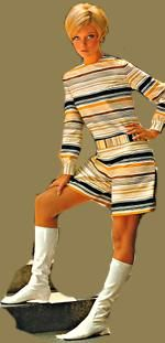 Sears 1968 Multicolor striped pant dress in broadcloth of Fortrel polyester and cotton. Knee high boot. This scene stealer stretches to cling. It's long and lean. Patent vinyl uppers.
