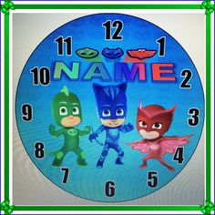 PJ Masks Inspired Personalized Wall Clock by daJShop on Etsy