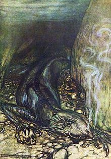 In a dragon's form Fafner now watches the hoard. Arthur Rackham, from Siegfried & The twilight of the gods, by Richard Wagner, London, Arthur Rackham, Tolkien, Richard Wagner, Classic Fairy Tales, Old Norse, Norse Vikings, Fairytale Art, Norse Mythology, Dark Fantasy Art